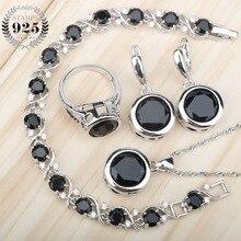 Czarny cyrkon 925 srebrne zestawy biżuterii dla nowożeńców kolczyki z kamieniami/pierścionki/wisiorek/naszyjnik/zestaw bransoletek dla kobiet darmowe pudełko