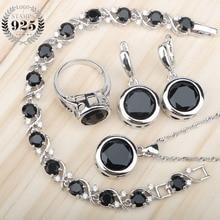 Zircon noir 925 argent bijoux de mariée ensembles boucles doreilles avec pierres/anneaux/pendentif/collier/Bracelets ensemble pour les femmes boîte cadeau gratuit