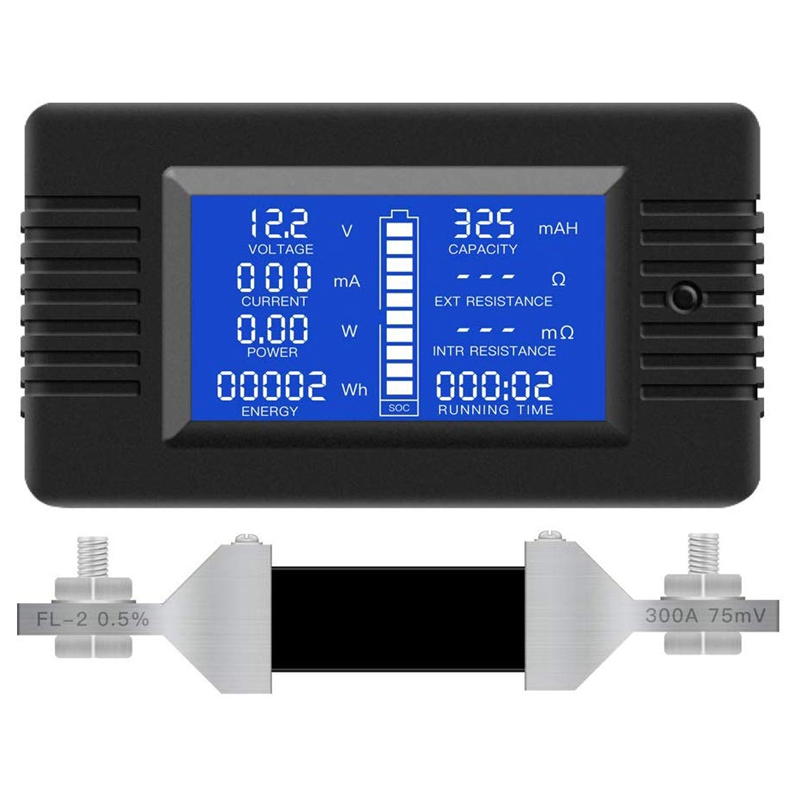 Multifunction do Monitor da Bateria Extensamente à Bateria de 12 Medidor Aplicado – 24 48 rv Carro Lcd Display Digital Atual Vol 0-200 v 0-300a Mod. 70703