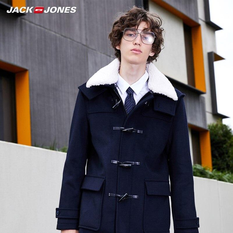 JackJones Men's Detachable Collar Style Sheep Wool Claw Button Overcoat Wool Coat| 219327525