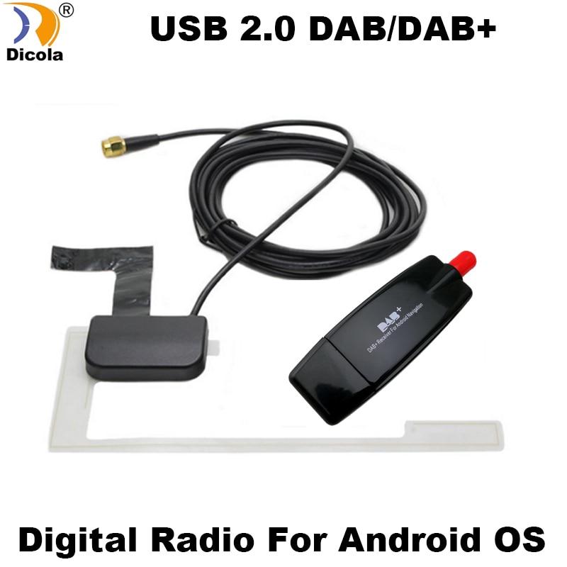 Otomobiller ve Motosikletler'ten GPS Alıcısı ve Anten'de USB 2.0 dijital DAB + radyo Tuner alıcısı sopa Android için araba DVD OYNATICI Autoradio Stereo USB DAB Android radyo araba radyo title=