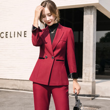 New temperament womens suits pants suit Fashion Slim Large Size Ladies Suit Red Slim-fit flared office two-piece