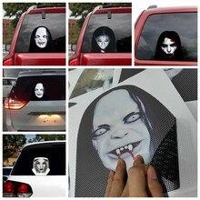 Stickers Car Styling Horror Ghost Face Car Rear Window Sticker Creative Decal Decor Night High Light Beam Warning Reflective