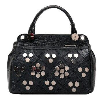 2020 European and American Rivet Fashion Women's Bag Leather Top Layer Cowhide Single Shoulder Women's Handbag Luxury Wallet фото