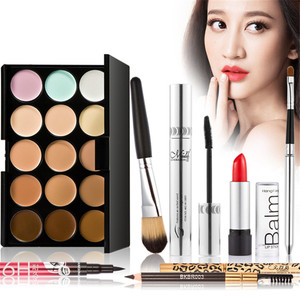Makup set Tool Kit must have include concealer palette eyelash Eyebrow cream lipstick liquid eyeliner Mascara Foundation Brush(China)