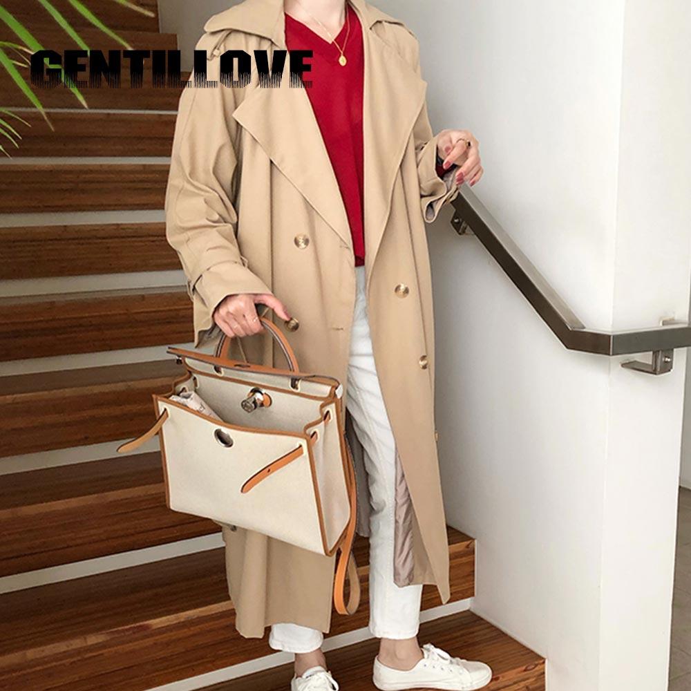 Women Double Breasted   Trench   Belt Coat Classical Lapel Collar Loose Long Windbreaker Elegant Office Lady Chic Outwear Autumn