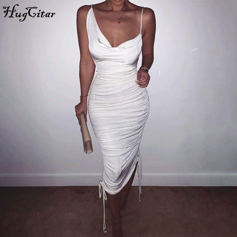 Hugcitar 2020 sleeveless white pleated maxi sexy bandage dress summer women fashion streetwear outfits sundresses