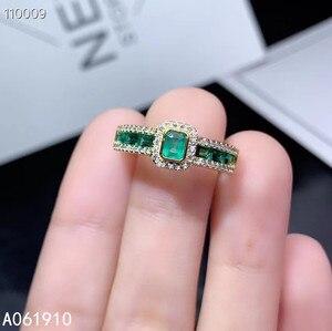 KJJEAXCMY ювелирное изделие из стерлингового серебра 925 пробы, инкрустированное натуральным изумрудом драгоценным камнем, женское кольцо, подд...