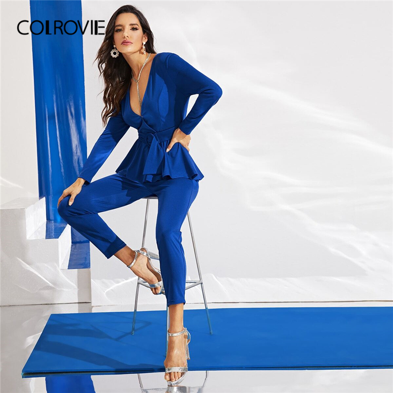 COLROVIE Blue Surplice Neck Belted Peplum Jumpsuit Elegant Tapered Jumpsuits Women 2019 Autumn High Waist Style Long Jumpsuits