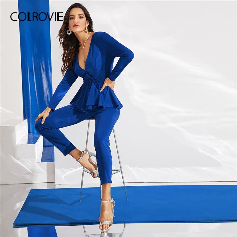 COLROVIE Blue Surplice Neck Belted Peplum Jumpsuit Elegant Tapered Jumpsuits Women 2019 Autumn High Waist Style Long Jumpsuits