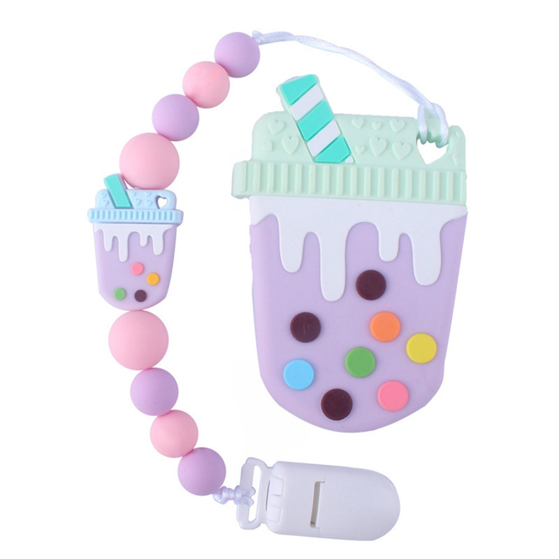 Baby Pacifier Clips Cute Strawberry Pacifier Holder Chain Silicone Beads Baby Teething Chain Nursery Toy Shower Gifts