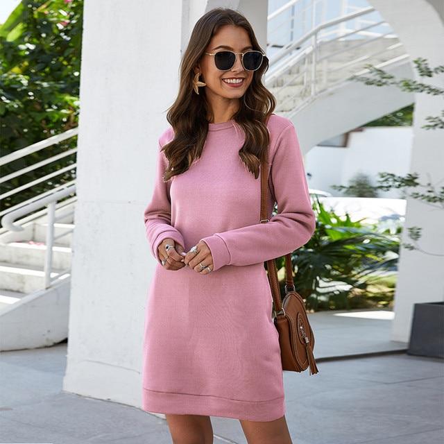 Leosoxs осенне-зимнее платье-свитер с круглым вырезом и длинным рукавом для женщин 2020 Новое модное однотонное свободное мини-платье с карманом для женщин Vestidos 2