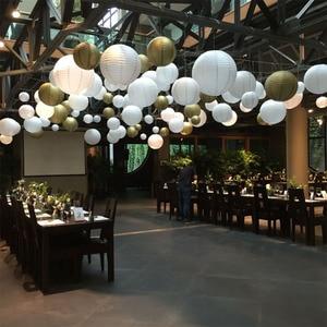 Image 4 - 2pcs 4/6/8/10/12/14/16 Inch Round Wedding Birthday Party Paper Lanterns Decor Gift Craft DIY Lampion Hanging Ball