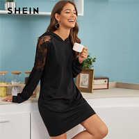 Shein contraste laço casual com capuz camisola vestido das mulheres roupas primavera streetwear sólido manga longa senhoras vestidos curtos