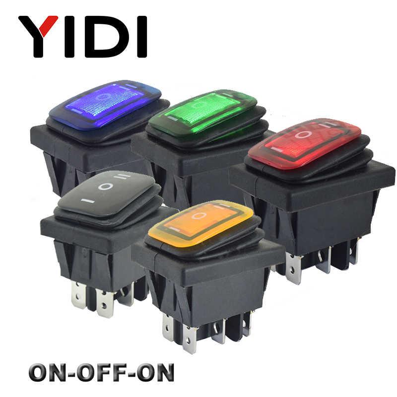 KCD4-203 الثقيلة 16A 250VAC 30x22 مفتاح هزاز مضاد للمياه 6pin DPDT على الخروج على 12 فولت 220 فولت الأحمر الأخضر LED مفتاح روك الضوء