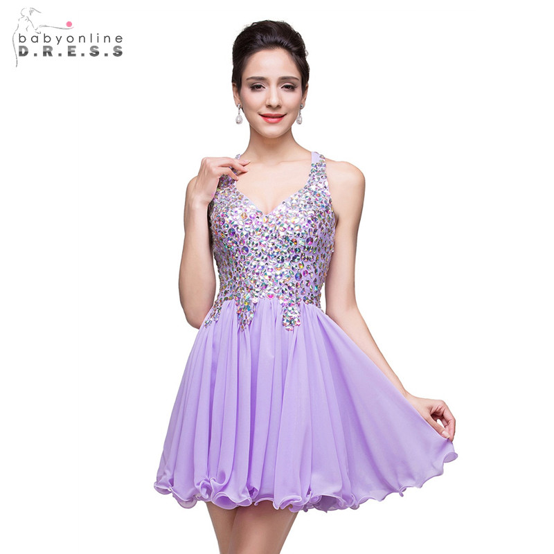 24 Hours Shipping Purple Crystals Short Cocktail Dresses Sexy V-neck Backless Mini Party Dresses Ruched Robe De Cocktail