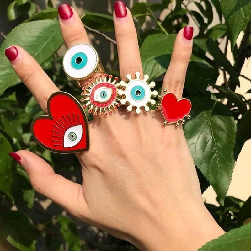 2020 New Fashion Adjustable Bohemian Gold Geometric Circle Heart Shape Enamel Red White Evil Eye Finger Rings Set For Women