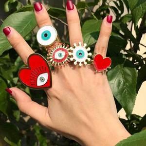 2020 New Fashion Adjustable Bohemian Gold Geometric Circle Heart Shape Enamel Red White Evil Eye Finger Rings Set For Women(China)