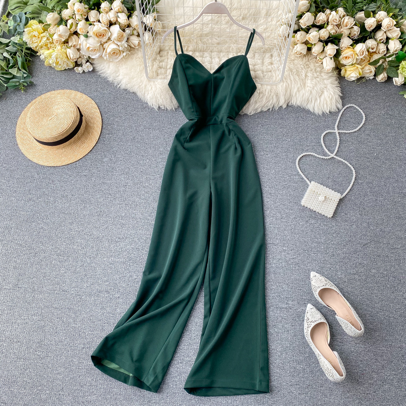 Boho Vintage Slim Sexy 2020 Jumpsuits V Neck Romper Spaghetti Strap Summer Full Length Jumpsuit Women Elegant Beach Playsuit
