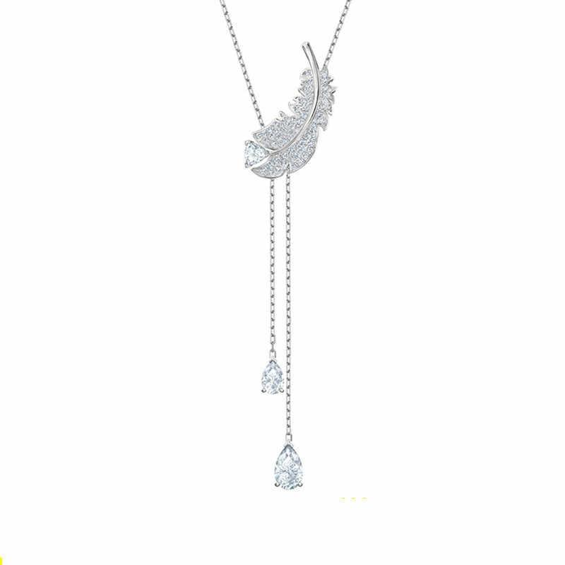 2019 เงิน Swa 1:1 ใหม่สร้อยคอเพื่อนที่ดีที่สุดผู้หญิง Y Wing Clavicle Chain ขายส่ง