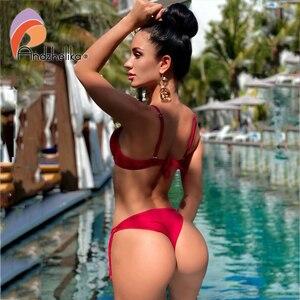 Image 2 - Anadzhelia סקסי תחבושת Push Up ביקיני סט מוצק בגדי ים נשים 2020 קיץ שתי חתיכה בגד ים חוף רחצה חליפת AK5922 2