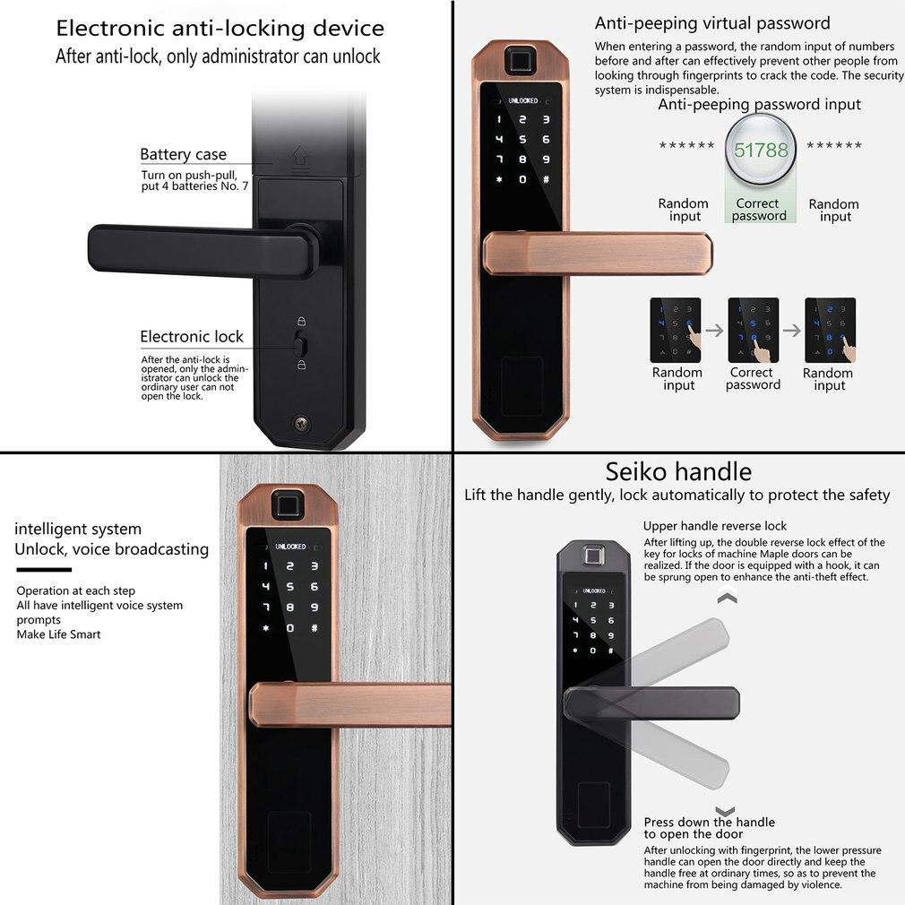 Крытый деревянный дверной замок с идентификацией через отпечатки пальцев безопасности дома двойной язык дверной замок электронный цифров