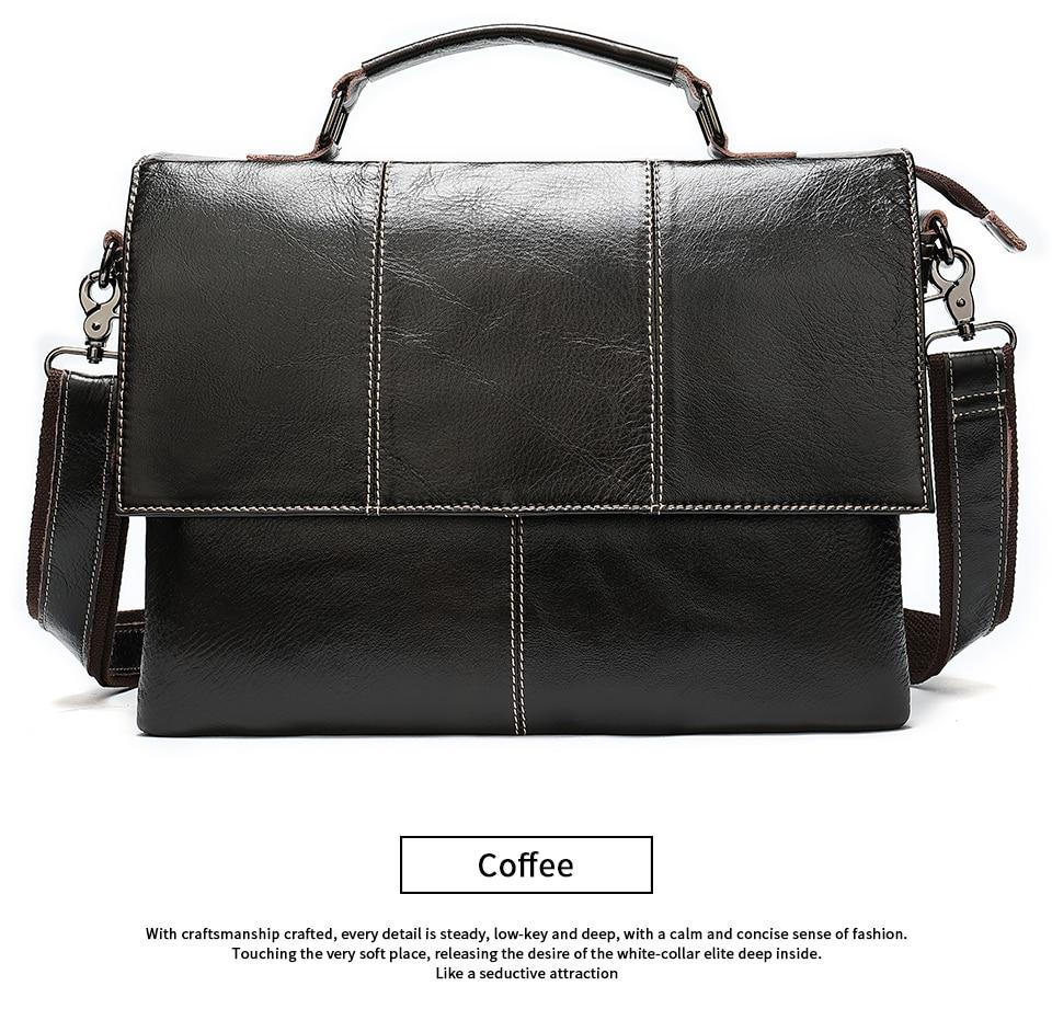 H05197eb3fa3f4884a6fd9928248e260cO Bag Men's Briefcase Genuine Leather Office Bags for Men Leather Laptop Bags Shoulder/Messenger Bag Business Briefcase Male 7909