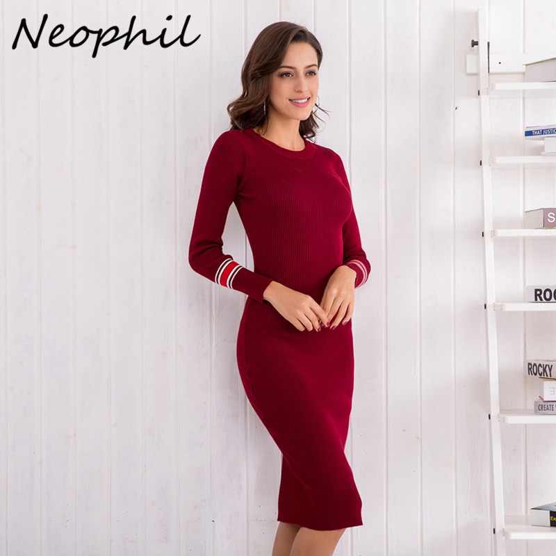 Neophil 2019 Womens Winter Knitted Dresses Sheath O Neck Long Sleeve Bodycon Black Basic Sexy Knee Length Vestidos D2986