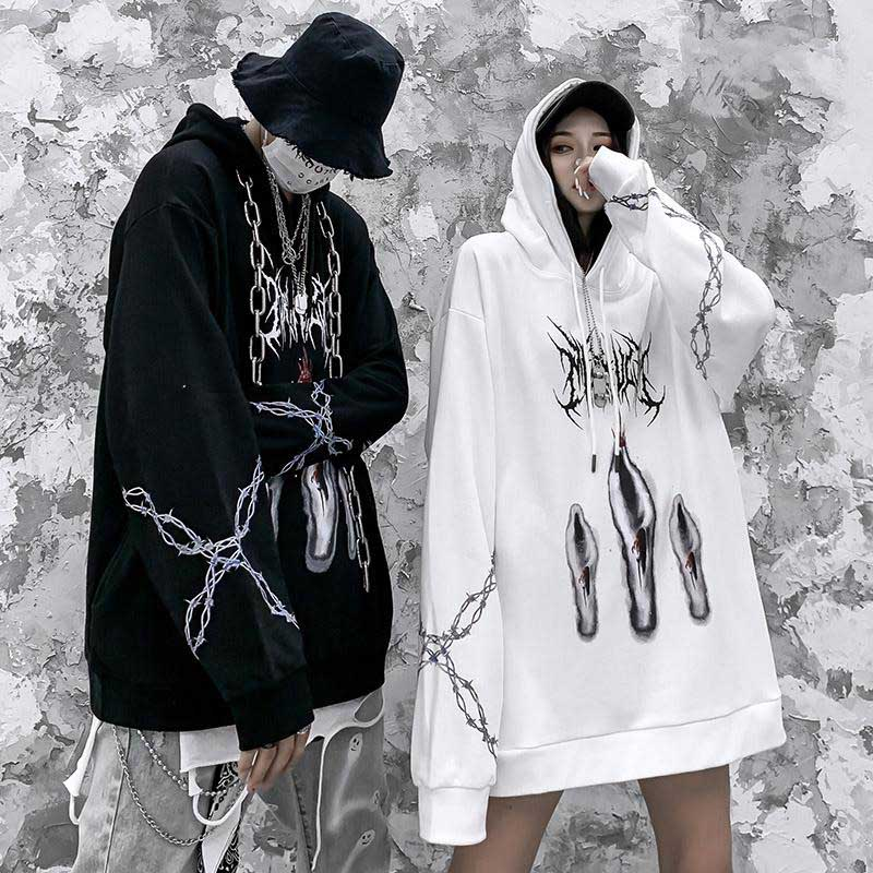 Men Women Hip Hop Hoodie Sweatshirt Three Ghost Print Harajuku Streetwear Hooded Pullover Cotton Autumn Hoodie HipHop Oversize