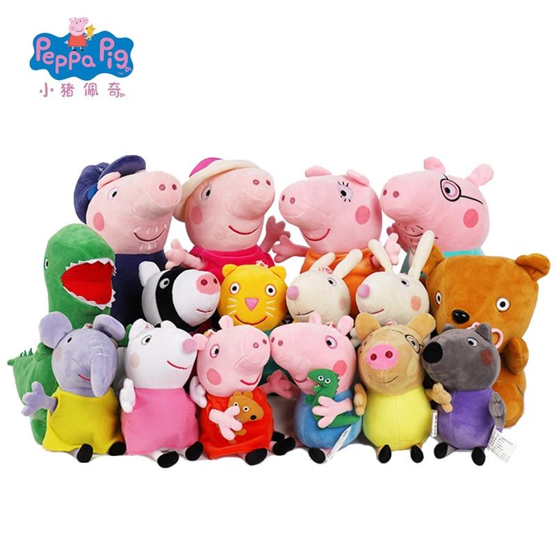 13/19/30cm Original Peppa Pig Plush Toy Doll George Rebecca Rabbit Susy Sheep Cartoon Animal Stuffed Plush Toys Birthday Gift