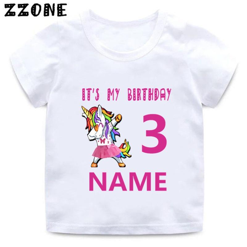 Custom Name Birthday Girls T shirt Unicorn Cartoon Number 1-11 Print Kids T-shirt Happy Birthday Baby Children Clothes,HKP5250