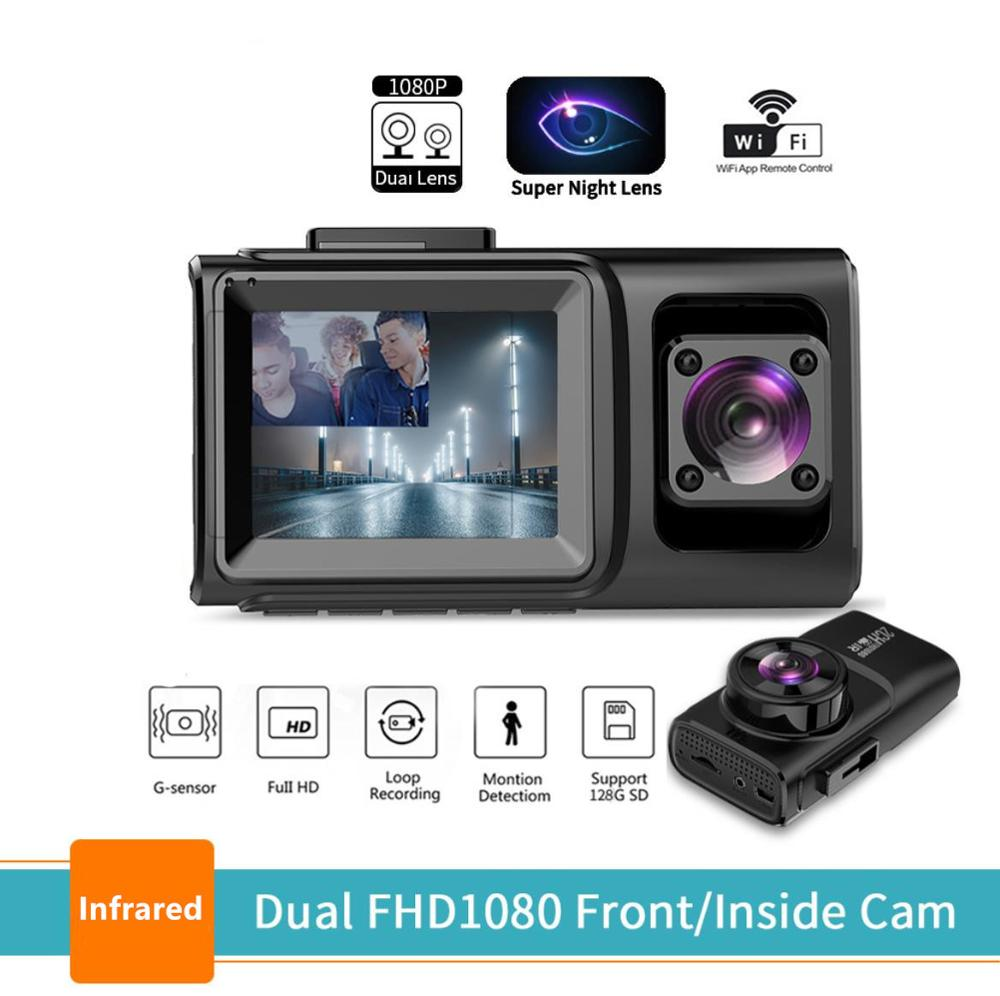 Dual lens fhd1080P car cameras front and car carbin recorder with wifi app control infrared night vision Taxi <font><b>Uber</b></font> Bus motion d image
