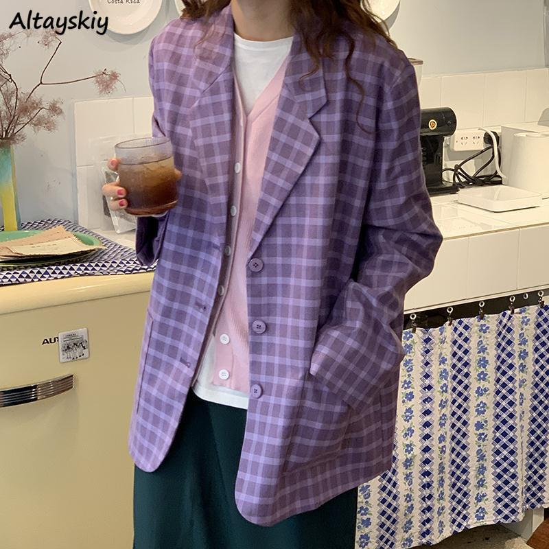 Blazers Women 2020 Ulzzang Stylish Purple Plaid Spring Temperament Loose Femme Coats Newest Button Pockets Elegant Chic Jackets