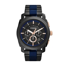 FOSSIL Mens Machine Stainless Steel and Silicone Chronograph Quartz Watch Luxury Watches 2019 FS5164P