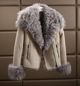 Image 5 - OFTBUY 2020 Winter Jacke Frauen Echte Doppel konfrontiert Pelzmantel Natürliche Mongolei Schafe Pelz Parka Biker Streetwear Vintage Mode