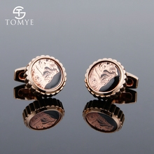 цена TOMYE Men's Cufflinks Rose Gold High end Custom Enamel Alloy Luxury Cuff Links Wedding  Jewelry XK19S101 онлайн в 2017 году