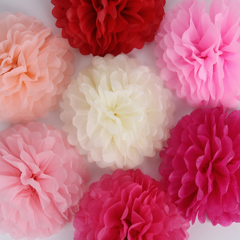 5pcs 10cm 20cm 30cm Paper Pom Poms Flower Balls For Wedding  Decoration Birthday Party Supplies Paper Pompoms Home Decor