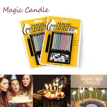 10pcs Props Candles Birthday Party Christmas Wedding Celebration Shows Invincible Relighting Candle Fun Trick Cake Joke Gi image