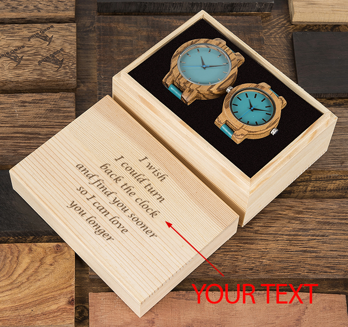BOBO BIRD Customized Lover's Watches Engrave On Wooden Box Genuine Leather Strap Wood Quartz Men Women Timepieces Gift For Her