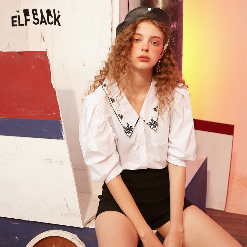 ELFSACK White Solid Floral Embroidery Casual Women Collar Shirts 2020 ELF Summer New Elegant Puff Sleeve Female Korean Daily Top