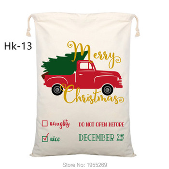 Customized Christmas Bag 10pcs/lot Santa Sacks Drawstring Canvas Bag Bulk Party Decorations Kids Toy Sack Personalized Gift