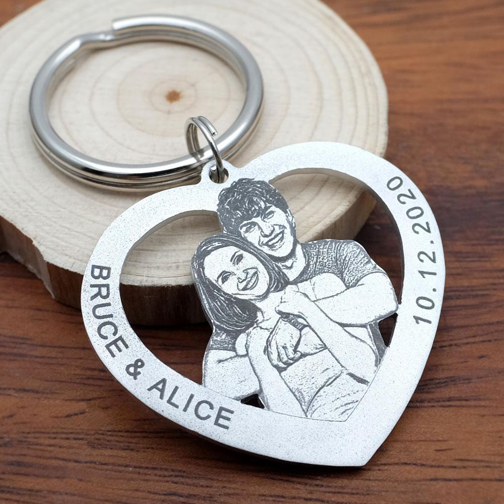 Personalisierte Keychain,Custom Foto-schlüsselanhänger, Paare Keychain, Bild Schlüsselring, Mann Geschenk, Geschenk für Ihn