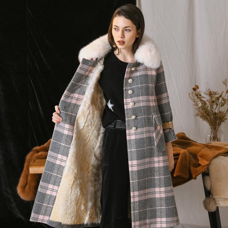 Korean Vintage Real Fur Coat Streetwear Sheep Shearling Fox Fur Collar 100% Wool Jacket Autumn Winter Coat Women Clothes 2020
