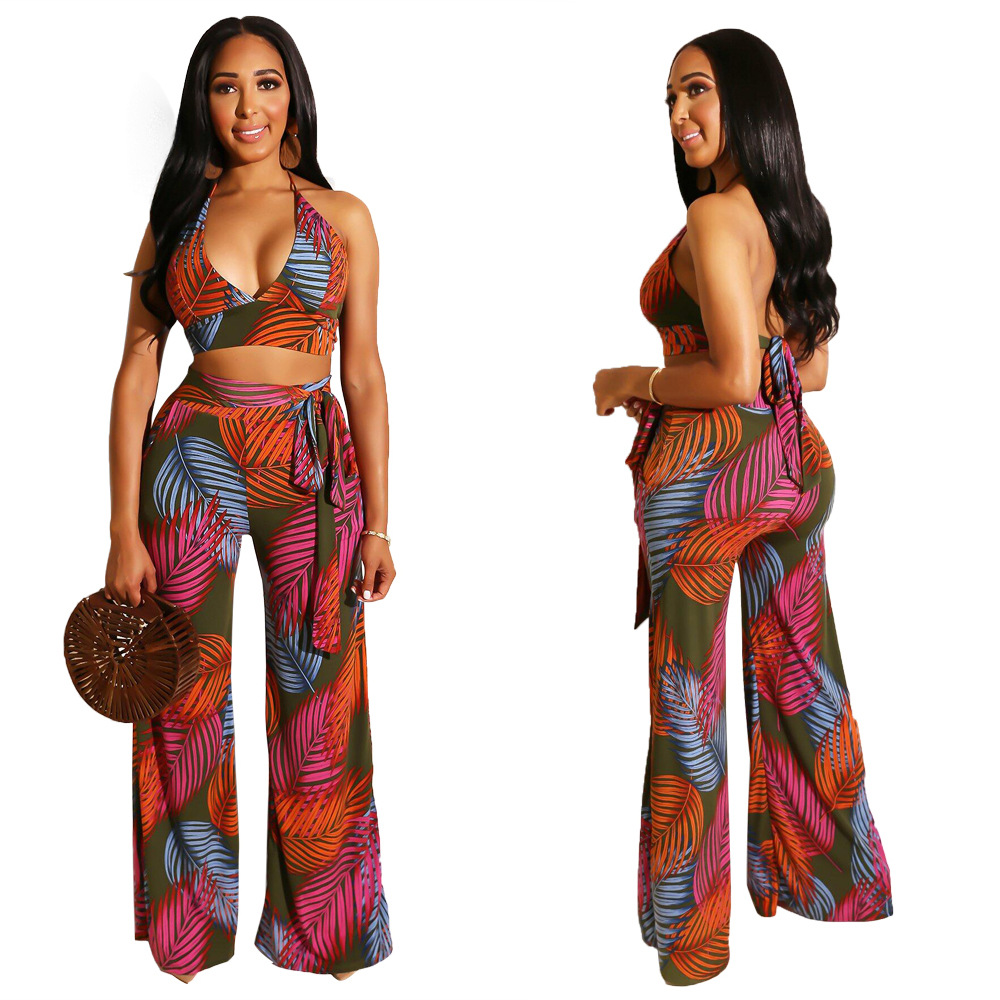 X9144 [Currently Available] Cross Border For Europe And America Fashion WOMEN'S Dress Printed Halter Tops Loose Pants Two-Piece
