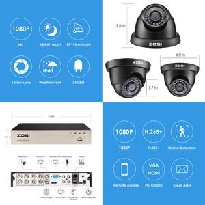 Image 2 - ZOSI 1080p Video Surveillance System 8CH HD TVI 1080P H.265+ CCTV DVR with 8PCS HD 2.0MP In/Outddor Dome Security Cameras Kit