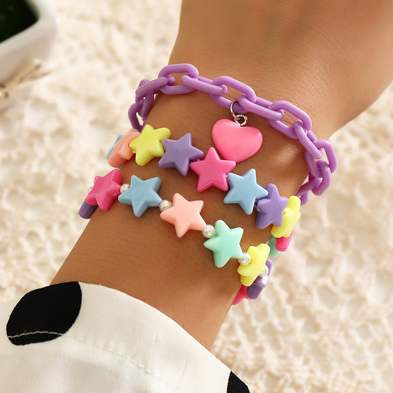3PC/SET Fashion Candy Color Acrylic Stars Heart Charms Pendant Pearls Cute Bracelet Bangles Sets for Women Girls Birthday Gifts