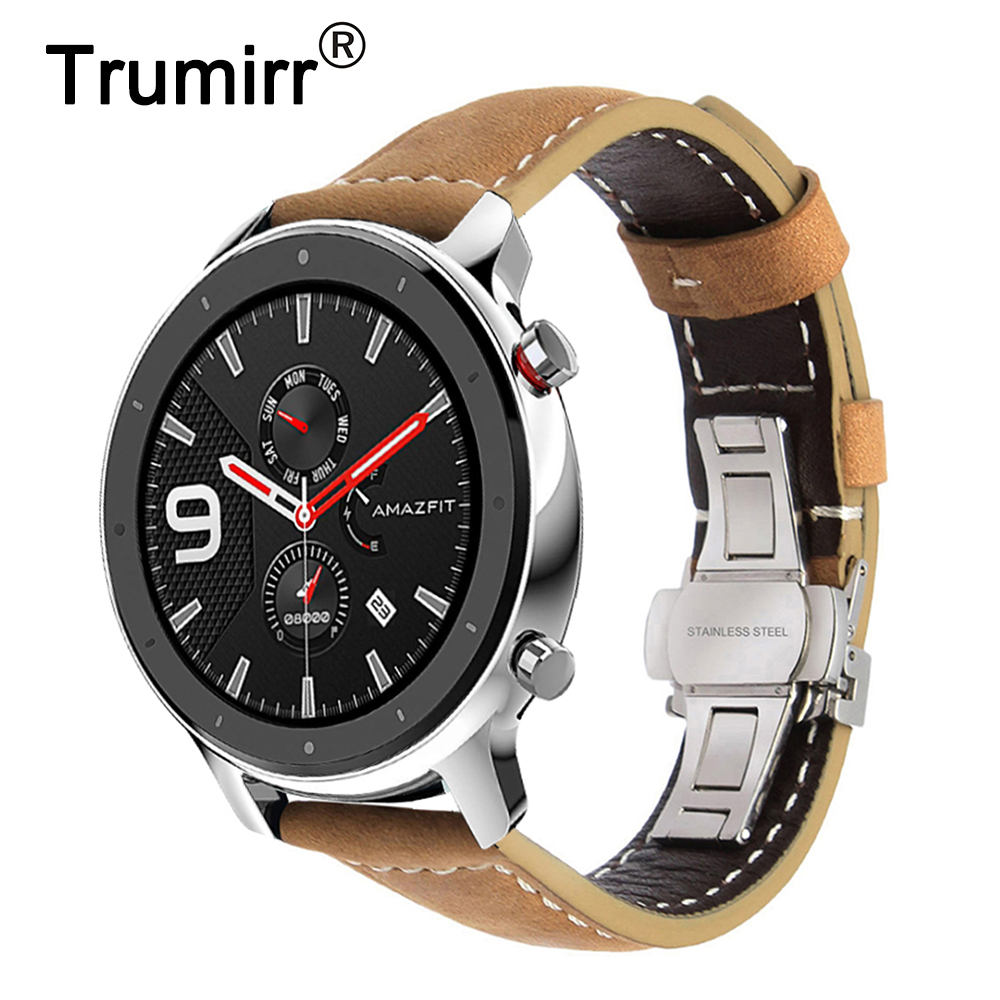 Image 1 - Italy Genuine Leather Watchband for Huami Amazfit GTR 47mm 42mm Smart Watch Band Quick Release Strap Butterfly Clasp Bracelet-in Watchbands from Watches