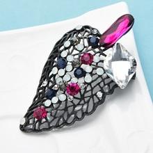 Wuli&baby Crystal Leaf Brooches Big Flower Weddings Office Brooch Pins For Women