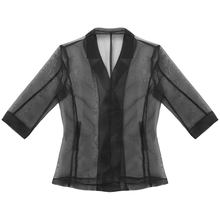M-XXL Fashion Lapel Collar 3/4 Sleeves See Through Sheer Shirt Tops Double-Breasted Transparent Coat for Party Nightclub(China)