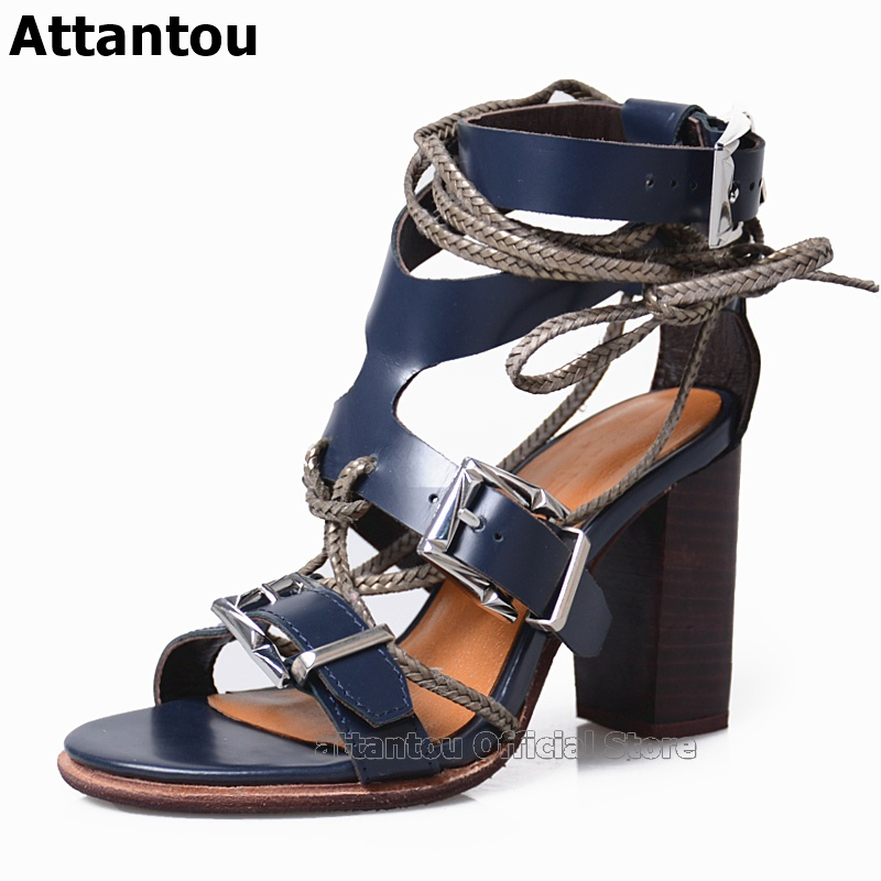 Royal Blue Orange Women Gladiator High Heels Sandals Patent Leather Ankle Lace Up Straps Summer Ladies Shoes Buckle Zapatos Muje